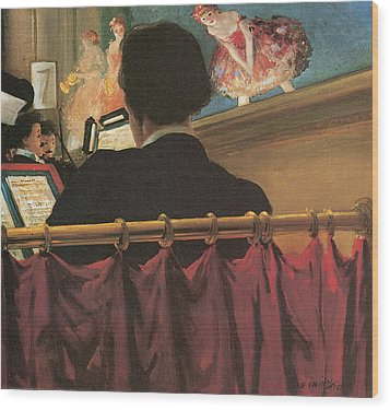 The Orchestra Pit Wood Print by Everett Shinn