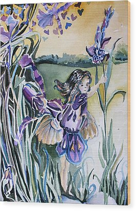 Wood Print featuring the painting The Orchid Fairy by Mindy Newman