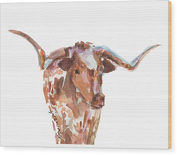 The Original Longhorn Standing Earth Quack Watercolor Painting By Kmcelwaine Wood Print