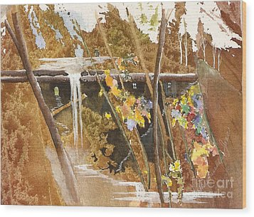 Wood Print featuring the painting The Other Place by Jackie Mueller-Jones