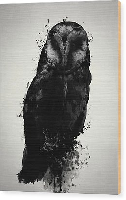 Wood Print featuring the mixed media The Owl by Nicklas Gustafsson