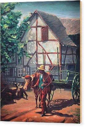 The Ox Cart Wood Print by Hanne Lore Koehler