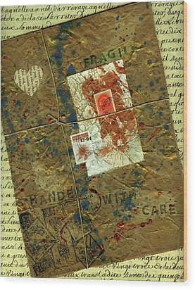 Wood Print featuring the mixed media The Package by P J Lewis