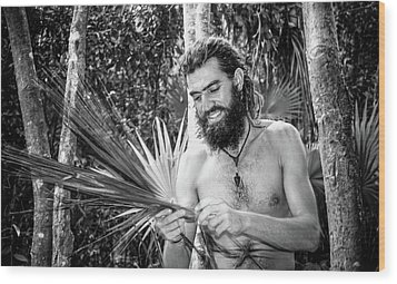 The Palm Frond Weaver Wood Print by Marius Sipa