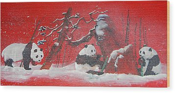 Wood Print featuring the painting The Pandas Come On Red by Debbi Saccomanno Chan