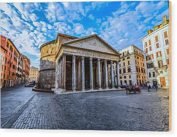 Wood Print featuring the painting The Pantheon Rome by David Dehner