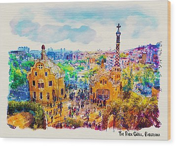 Park Guell Barcelona Wood Print by Marian Voicu