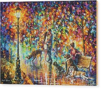The Park Of Advanture  Wood Print by Leonid Afremov