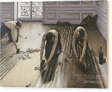 The Parquet Planers Wood Print by Gustave Caillebotte