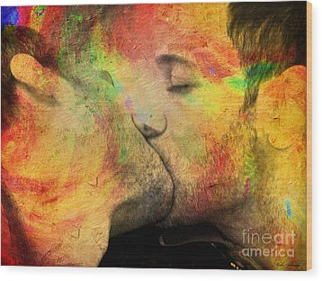 The Passion Of A Kiss 1 Wood Print by Mark Ashkenazi