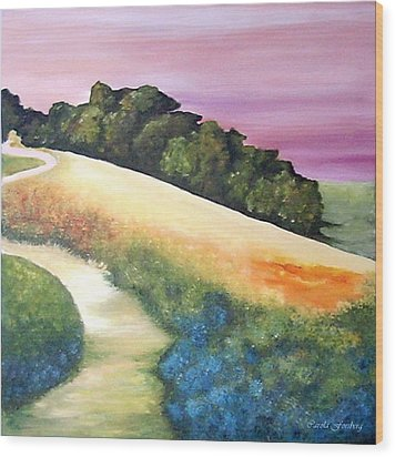 The Path Over The Hill Wood Print by Carola Ann-Margret Forsberg