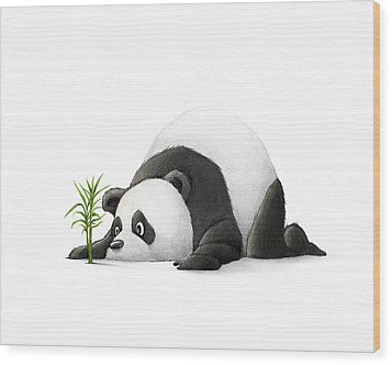 The Patient Panda Wood Print by Michael Ciccotello