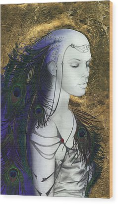 The Peacock Queen Wood Print by Ragen Mendenhall