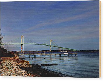 Wood Print featuring the photograph The Pell Bridge Newport Ri by Tom Prendergast