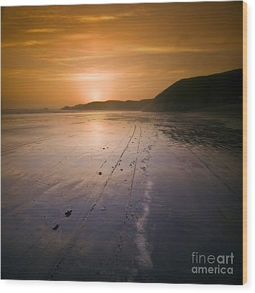 The Pembrokeshire Sunset Wood Print by Angel  Tarantella