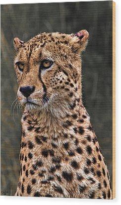 The Pensive Cheetah Wood Print by Chris Lord
