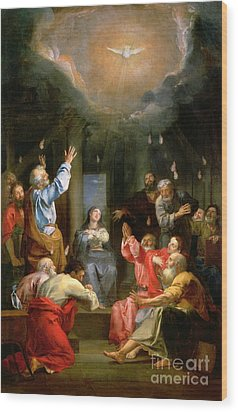 The Pentecost Wood Print by Louis Galloche