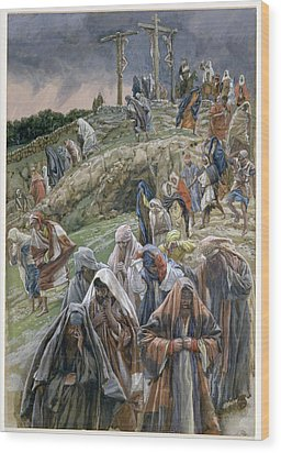 The People Beholding The Things That Were Done Smote Their Breasts Wood Print by Tissot