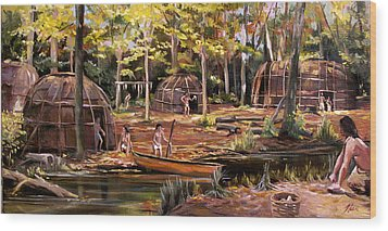 Wood Print featuring the painting The Pequots by Nancy Griswold