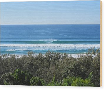 The Perfect Wave Sunrise Beach Queensland Australia Wood Print by Chris Hobel