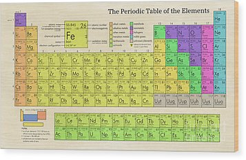 The Periodic Table Of The Elements Wood Print by Olga Hamilton