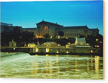 The Philadelphia Art Museum And Waterworks At Night Wood Print by Bill Cannon