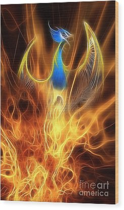The Phoenix Rises From The Ashes Wood Print by John Edwards