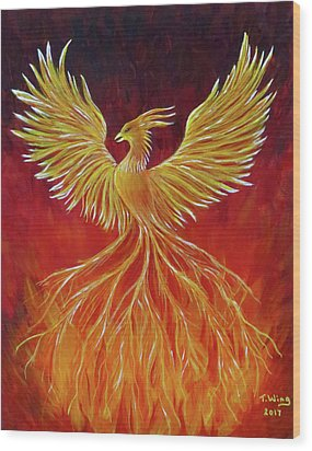 Wood Print featuring the painting The Phoenix by Teresa Wing