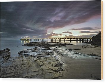 The Pier @ Lorne Wood Print by Mark Lucey