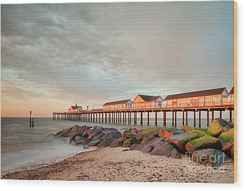 Wood Print featuring the photograph The Pier At Sunrise 2 by Colin and Linda McKie