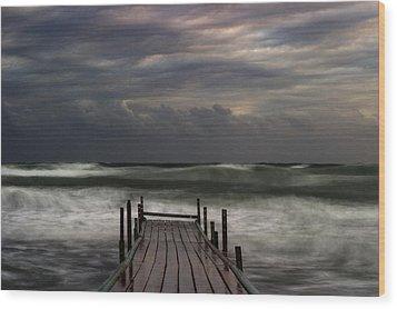 The Pier...ayia Napa Wood Print by Stelios Kleanthous