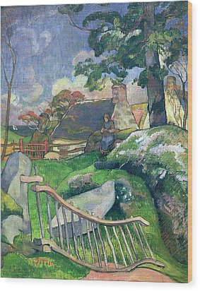 The Pig Keeper Wood Print by Paul Gauguin