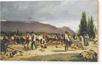 The Pig Market Wood Print by Pierre Edmond Alexandre Hedouin