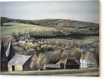 Wood Print featuring the painting The Pilgrims Way by Rosemary Colyer