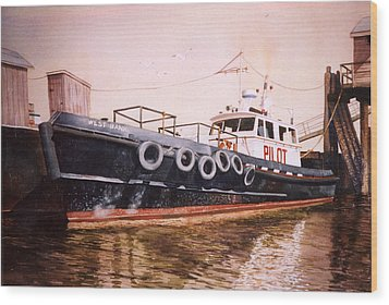 The Pilot Boat Wood Print by Marguerite Chadwick-Juner
