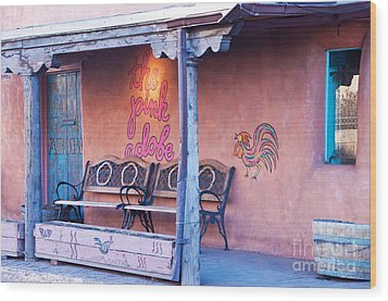 The Pink Adobe Wood Print