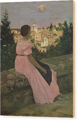 The Pink Dress Wood Print by Jean Frederic Bazille