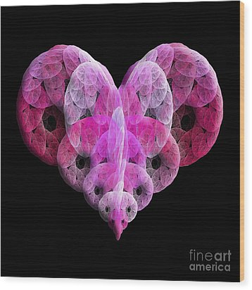 Wood Print featuring the digital art The Pink Heart by Andee Design