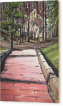Wood Print featuring the painting The Pink Road Off S Broadway Matted Glassed by Charlie Spear