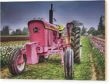 Wood Print featuring the photograph The Pink Tractor At The Wooden Shoe Tulip Farm by Thom Zehrfeld
