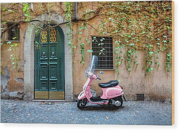 The Pink Vespa Wood Print by Al Hurley