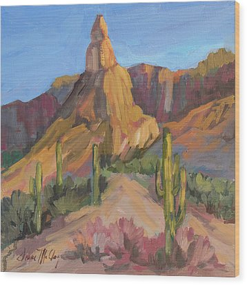 Wood Print featuring the painting The Pinnacle At Goldfield Mountains by Diane McClary