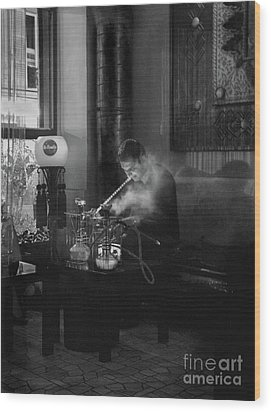 The Pipe Smoker Wood Print by Louise Fahy