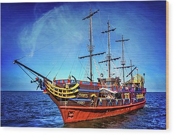 Wood Print featuring the photograph The Pirate Ship Ustka In Sopot  by Carol Japp
