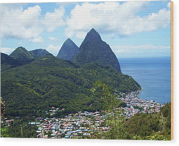 Wood Print featuring the photograph The Pitons, St. Lucia by Kurt Van Wagner
