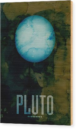 The Planet Pluto Wood Print by Michael Tompsett