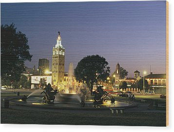 The Plaza In Kansas City, Mo, At Night Wood Print by Michael S. Lewis