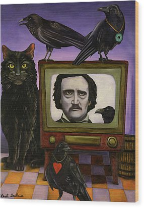 The Poe Show Wood Print by Leah Saulnier The Painting Maniac