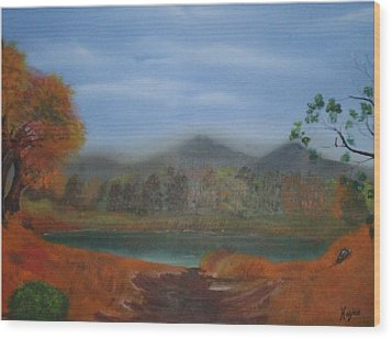 Wood Print featuring the painting The Pond by Barbara Hayes