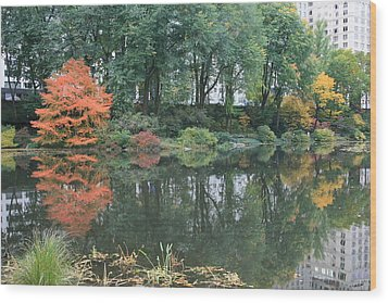 The Pond In Central Park In Fall Wood Print by Christopher Kirby
